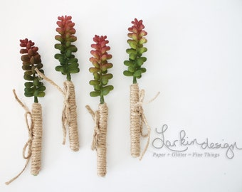 Red and Green Floral Stems, Set of Four