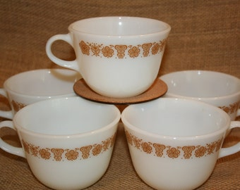 Vintage Pyrex Tea Cups Coffee Cups Set of 5 Butterfly Gold Pattern