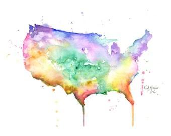 Usa Map Print Etsy - Us map print