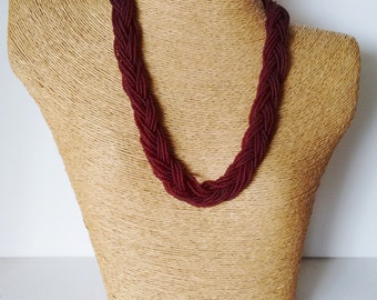 Braided necklace, garnet statement necklace, maroon necklace,bridesmaid necklace, beaded necklace,burgundy necklace, seed bead necklace,gift