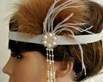 1920s Gatsby Headband Ivory Brown  1920s Headpiece  Flapper Headband Prom Headband Prom Headpiece