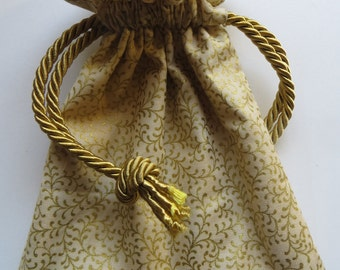 Metallic Gold Lined Drawstring Jewelry Gift Bag
