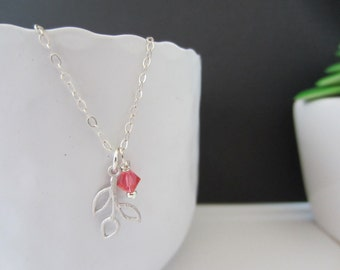 Necklace Small Leaves and Swarovski bicone 4mm,Padparadscha, Sunflower, Olivine, Amethyst - Sterling Silver Chain