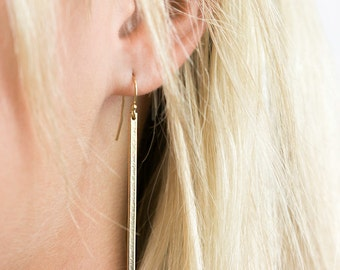 Simple Bar Earrings, Dangle 14k Gold Filled Earring, Sterling Silver or Rose Gold Fill / Long Dangle LINE Earrings by Layered and Long LE127