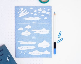 CLOUD TYPES NOTEBOOK Sky Blue Colour Educational Scientific Stationery Geeks Back to School Teacher Gift For Him Her Plain Pages Sketch Book