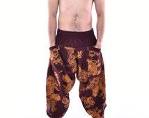 Koi Fish Samurai Pants, Parkour Pants, Trousers, Baggy pants, Yoga Pants, Handmade 100% Cotton(Unisex) One Size Fit All