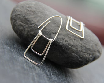 "Sterling silver or copper geometric rectangle dangle earrings ""Trapeze"", swing earrings, minimalist dangle earrings, modern, simple"