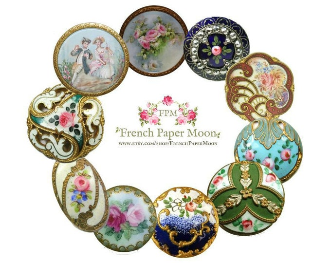 Digital antique french and victorian buttons, Printable Buttons, Clipart buttons, PNG & JPEG instant download