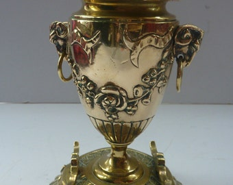 Substantially Made Antique 19th Century Brass Inkwell in the form of a Classical Urn with Ram's Head Handles