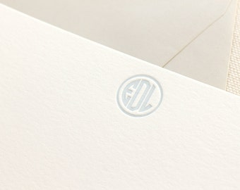 Letterpress Monogram Circle Personalized Stationery, Set of 25 or more, note cards, thank you, wedding gift, bridesmaid gift, coworker S136