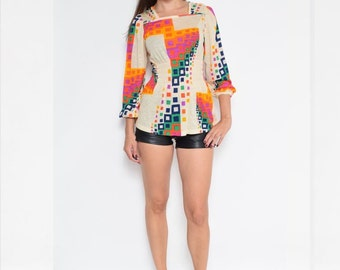 Vintage 70's Geometric Long Sleeve Top