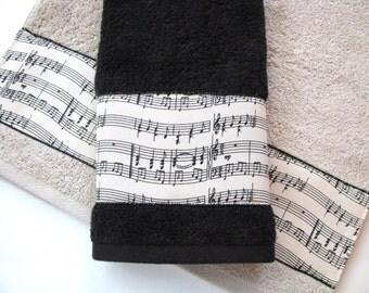 Music Ribbon Towel, Cream Towel, Bath Towels, Bathroom Decor, Staff, Music
