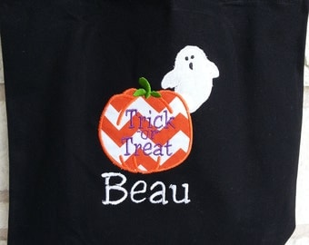 Halloween appliquéd Trick-or-Treat bag with monogrammed name