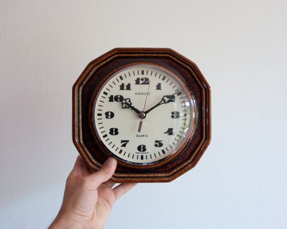 Vintage Brown Kitchen Clock Ceramic Quartz Wall Clock