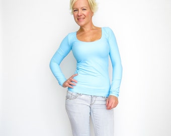 Womens Blue Top - Long Sleeves Shirt - Cleavage Top