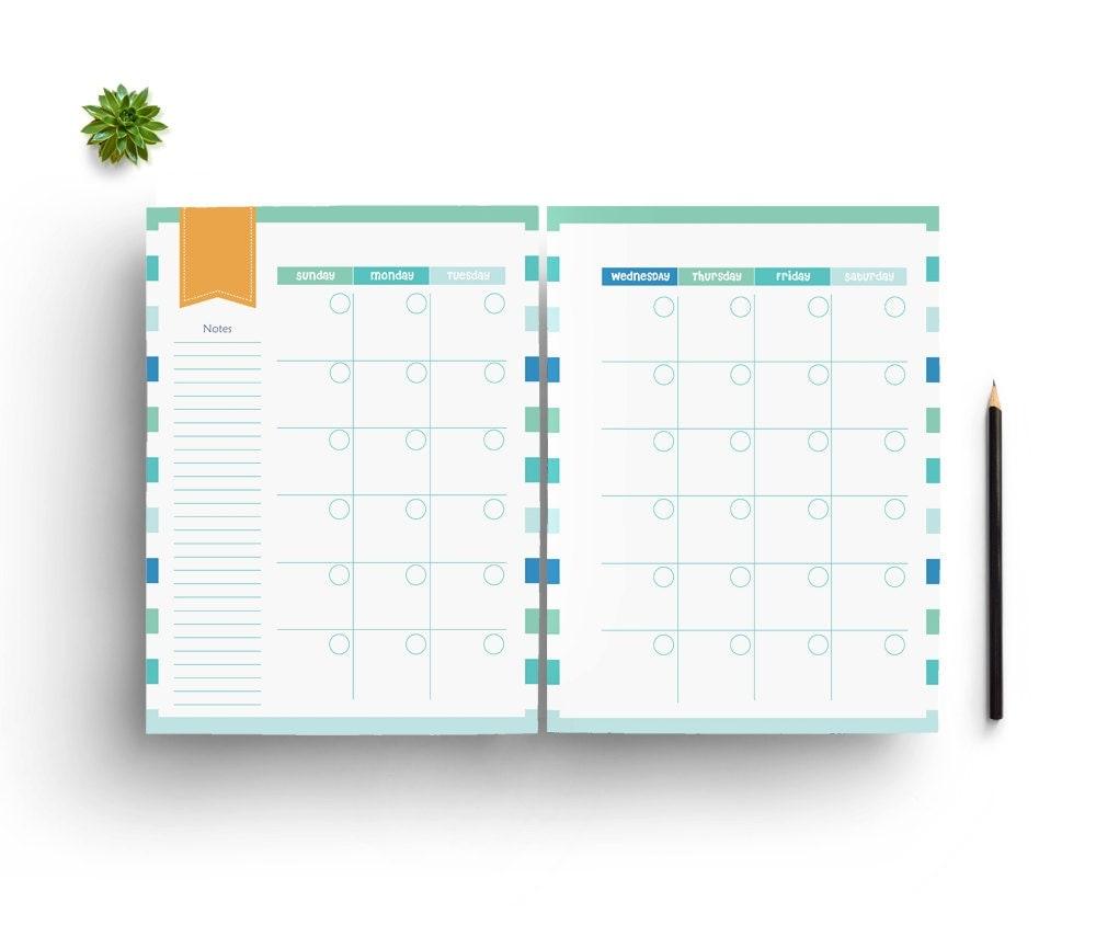 Diy Calendar Planner : Printable planner pages inch diy agenda