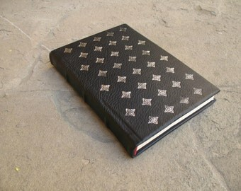 SALE Leather journal 21 x 14.5 cm with impressed metal foil diary scketchbook gift idea