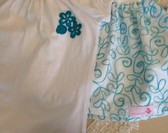 Handmade cotton embroidered skirt with cotton lining, and white tee with handmade crochet flower embellishments.