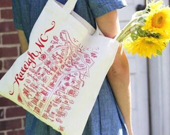 Raleigh Map Tote Bag