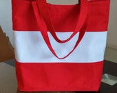 Large Canvas Tote Bag, beach bag, school bag, workout bag, red tote
