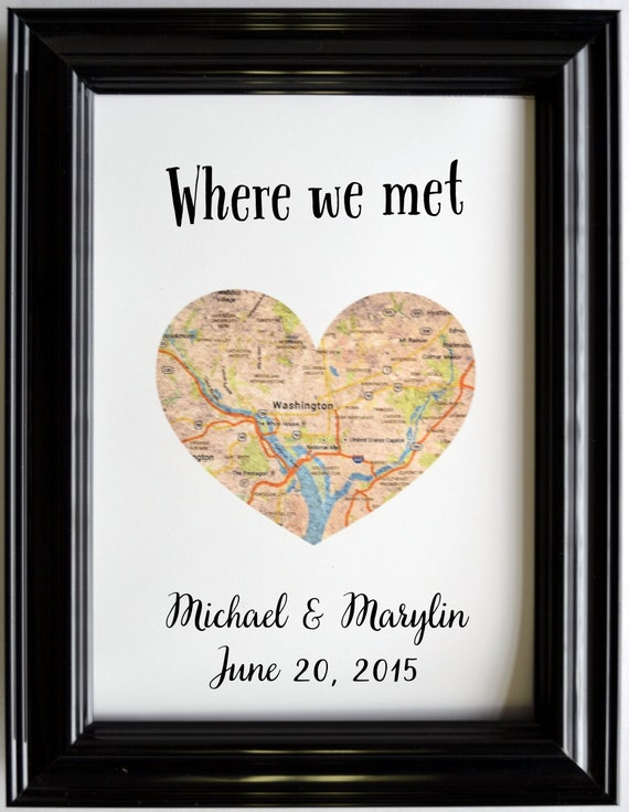 First Wedding Anniversary Gift Ideas For Couple : Custom Wedding Anniversary Gift For Couples Personalized Map Art ...