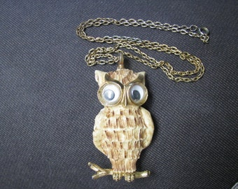 Vintage 1970's Resin Owl Pendant, Lucca Razza, Necklace with Wiggly Eyes,  Was 25.00 now 15.00