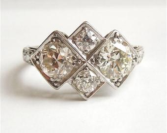 Art Deco Four Stone Diamond Ring in Platinum and 18K White Gold