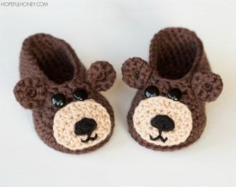 CROCHET PATTERN - Teddy Bear Baby Booties