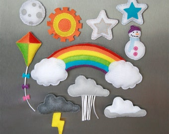 Weather - Felt Fridge Magnets - Handmade magnets, great for teaching children about weather