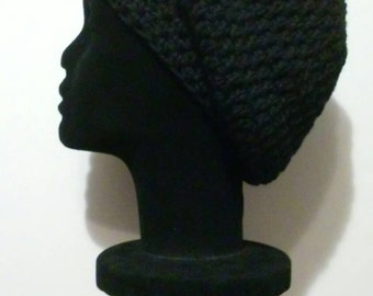 Black Crochet Slouchy Beanie - Ready to Ship (35-812-Q1/2)