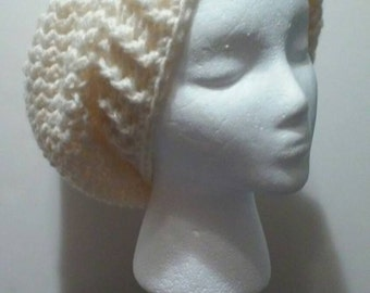 Slouchy Hat, Off White Crochet Slouchy Beanie, White Crochet Hat, Crochet Hats, Winter Slouchy Beanie, FREE SHIPPING, Ready to Ship, B37-830