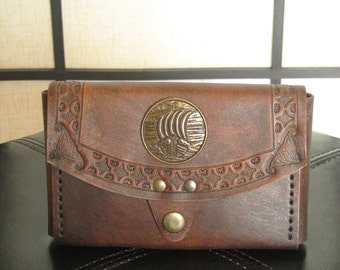 Medieval Renaissance Viking Drakkar Leather IPhone6 Belt Pouch Case Wallet