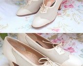 """Shoes / oxfords leather, vintage lace, white / beige, brand """"Gioiello"""" Vero Cuio made in Italy size 37"""