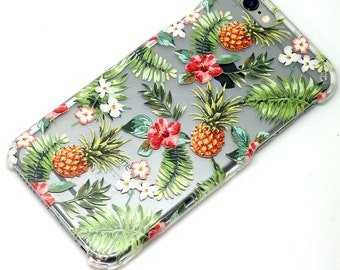 Pineapple Tropical Floral Hawaiian, iPhone Case, Transparent, Clear Phone Case, iPhone 6, iphone 7, iphone 6 plus, iphone 7 plus, iphone 5
