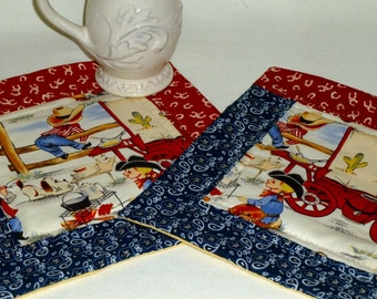 Western Mug Rugs, Snack Mats, Cowboy Coasters, Cookie Time Rugs, Quilted Snack Coasters, child place mats, absorbant washable mug rugs