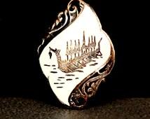 Siam Sterling Jewelry | Thai Jewelry | Royal Dragon Boat | Silver Enamel | Brooch Pin
