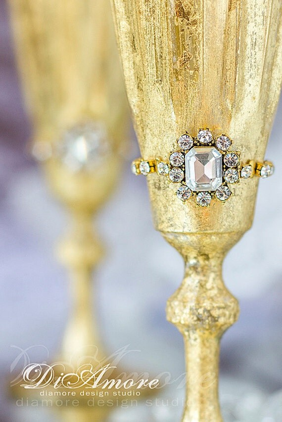 Gold Queen Wedding Toasting Glasses Vintage Mercury Glass