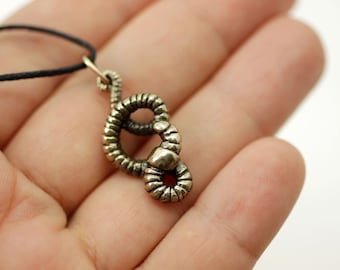 Earthworm bronze pendant necklace