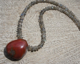 RED AGATE pendant. labradorite necklace. S.S.  natural NUGGET gemstone/ organic/ earthy/ rustic/ brick red/ smoky sparkle/ Boho/Southwest/