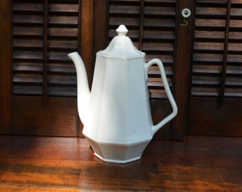 White Ceramic Teapot with Lid Classic White Kitchen Decor Lidded Ceramic Teapot Coffee Pot 8 Sided Octagonal White Teapot I Ship Wordwide