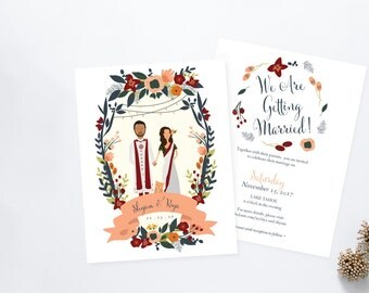 Indian Palace Wedding // Shaadi Wedding // Illustrated Couples Portrait // Illustrated Family Portrait // DIY Wedding Invites