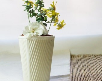 Ceramic planter, succulent pot or cactus plant pot. White cup for pot plants or use as a teacup. Slip cast porcelain with satin white glaze.