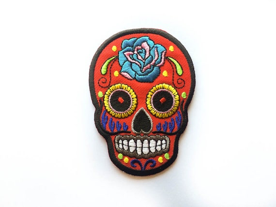 Sugar Skull Patch RED Sugar Skull Iron-on Patches