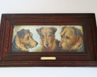 Vintage Print Triptych of Terrier Dog Family Pet Portrait Wooden Frame Mid Century Animal Portrait Circa 1950s