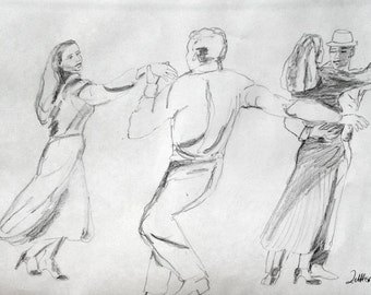 Dancing Couples dancing TangoPencil Drawing, Original