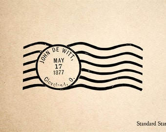 Postmark Rubber Stamp - 3 x 2 inches + Custom Text