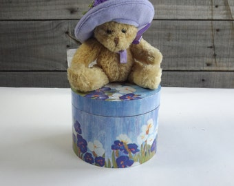 Vintage Avon Hat Box Teddy Bear Plush Collectible Teddies Brown w Purple Floral Hat Gift Set
