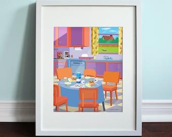 The Simpsons Kitchen   The Simpsons, Homer Simpson Art Print, TV Sitcom