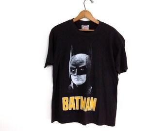 Vintage Black Michael Keaton Batman T-Shirt 1989