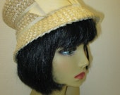 RESERVED 60s hat,  Lampshade style hat, Audrey Hepburn Hat, Breakfast at Tiffanys hat, Ivory Hat, 1960s Straw Hat